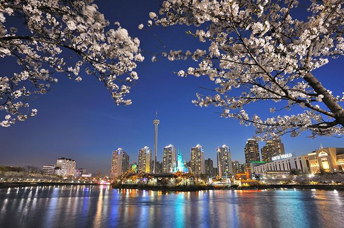 The night view at Seokchonhosu Lake