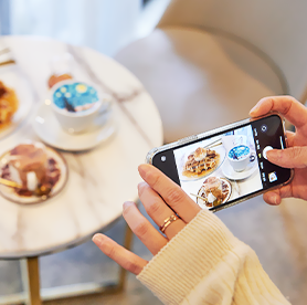 Take photos at Instagrammable cafes