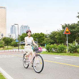 漢江沿いを行く、漢江サイクリング