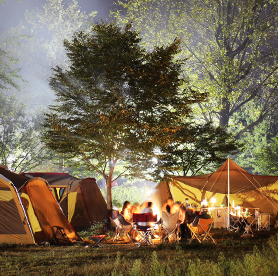 Camping in the pure environment of a recreational forest