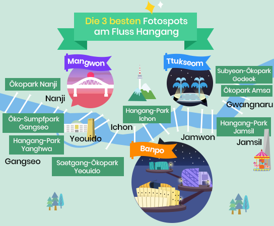 Fotospots in Hangang-Parks map