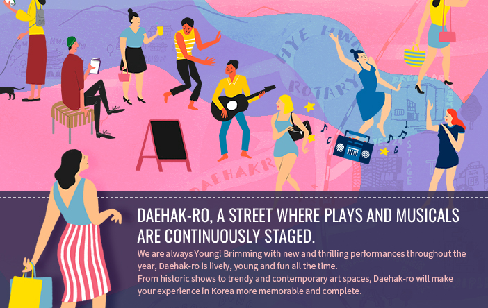 Daehak-ro, a street where plays and musicals are continuously staged.