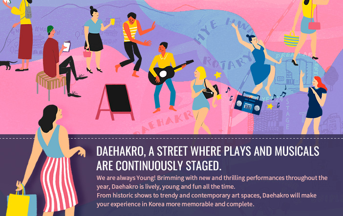 Daehakro, a street where plays and musicals are continuously staged.