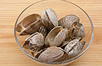 100g clams (2 cups water, 1 tsp salt), 2 liters water