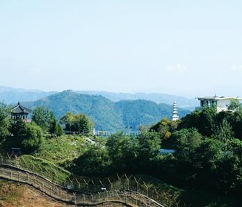 鍵展望台から見た北側の風景(写真提供:漣川郡庁)