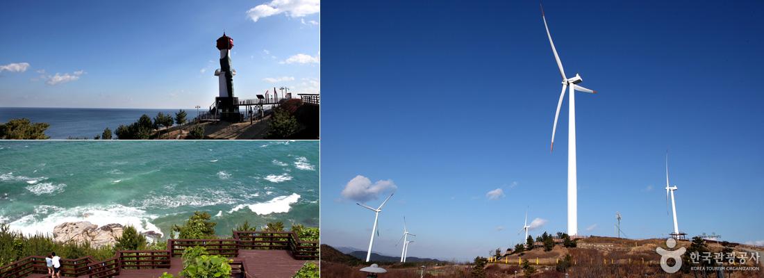 좌상)창포말등대와 바다, 좌하)전망대로 오르는 나무데크길과 바다 풍경, 우)바람개비 모양의 하얀색 풍력발전기들