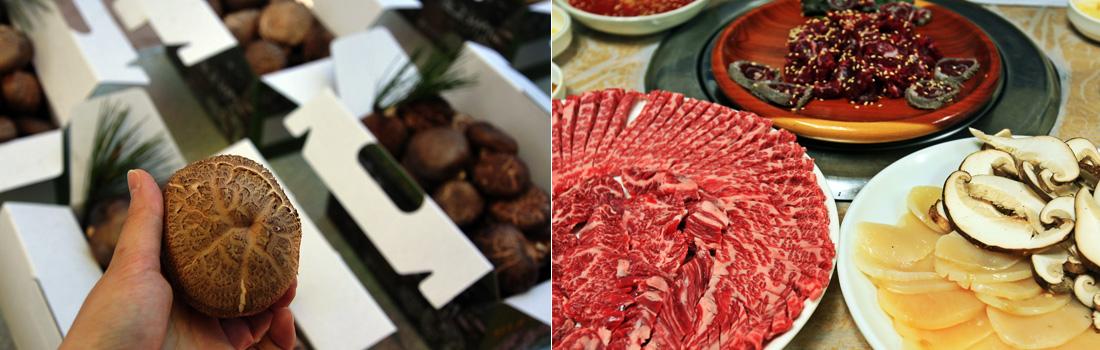 좌)표고버섯을 손에 쥔 모습, 우)음식점 그릇에 담긴 한우 고기와 표고버섯, 키조개 관자