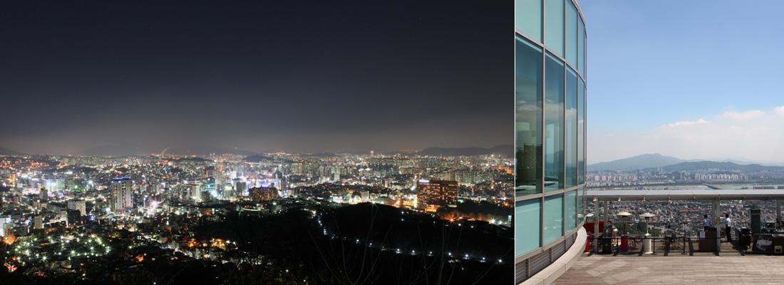 좌)N서울타워에서 내려다 본 서울 도심 야경, 우)N서울타워 뒤편의 휴게시설