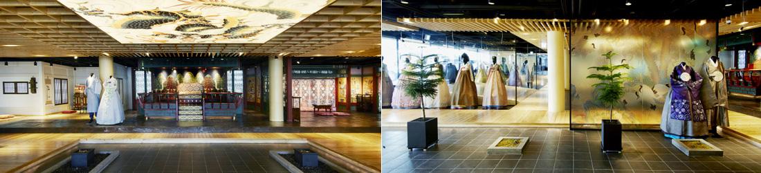 좌)중앙에 어좌가 있고 바로 옆에 한복을 입은 마네킹이 있는 한복문화체험관 내부, 우)한복을 입은 마네킹이 곳곳에 서 있는 한복문화체험관 내부