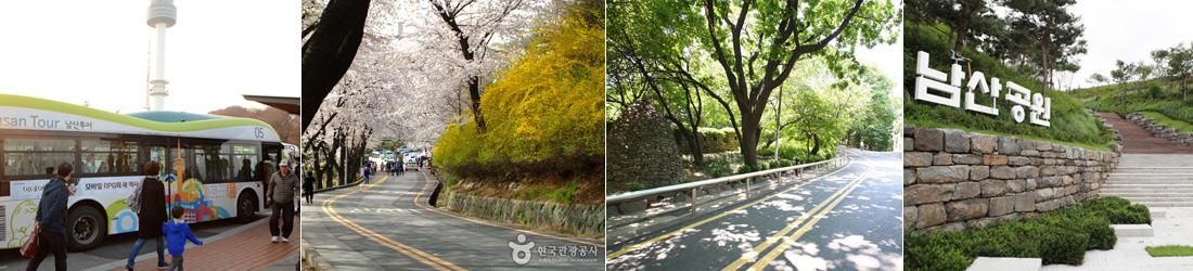 1)남산순환버스와 그 뒤편으로 보이는 N서울타워, 2)개나리와 벚꽃이 만발한 남산북측순환로, 3)나무 그늘이 드리워진 남산북측순환로 도로 풍경과 초록빛 나무들, 4)흰색의 커다란 남산공원 글자 조형물과 그 옆으로 난 계단