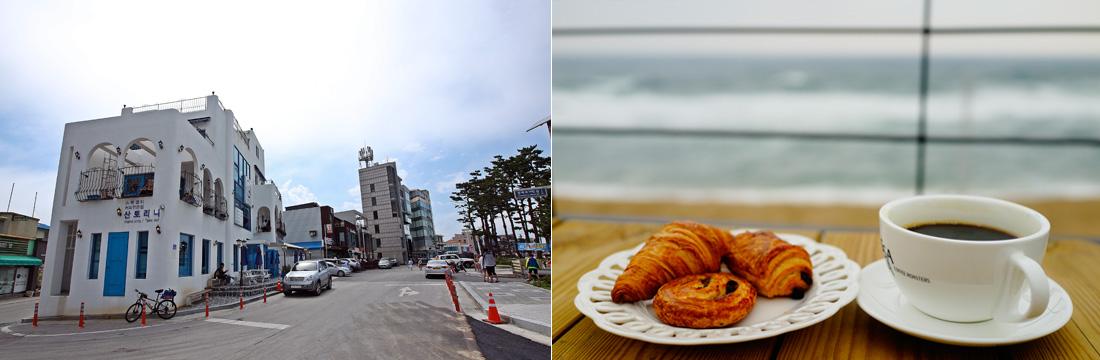 좌)산토리니 카페가 보이는 강릉 커피거리, 우)강릉 해변이 보이는 창가에 놓ㅇ니 접시에 담긴 빵과 커피