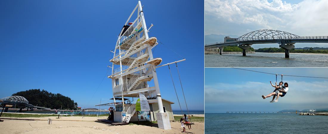좌)모래사장 위에 기둥과 계단 등으로 구성된 5층 높이의 하얀 전망대와 그네를 타는 아이들, 우상)바다 위에 세워진 인도교 솔바람다리, 우하)공중하강체험시설을 체험하고 있는 여성 관광객들