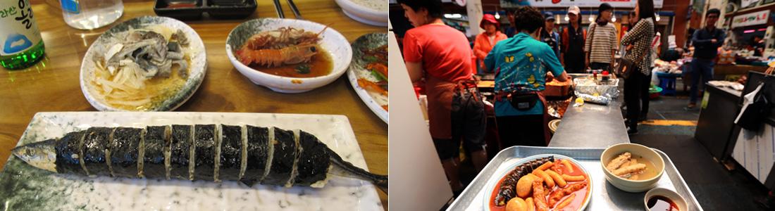 좌)꽁치 머리와 꼬리가 보이는 꽁치김밥, 우)떡볶이와 김밥이 섞여 나오는 모닥치기와 어묵