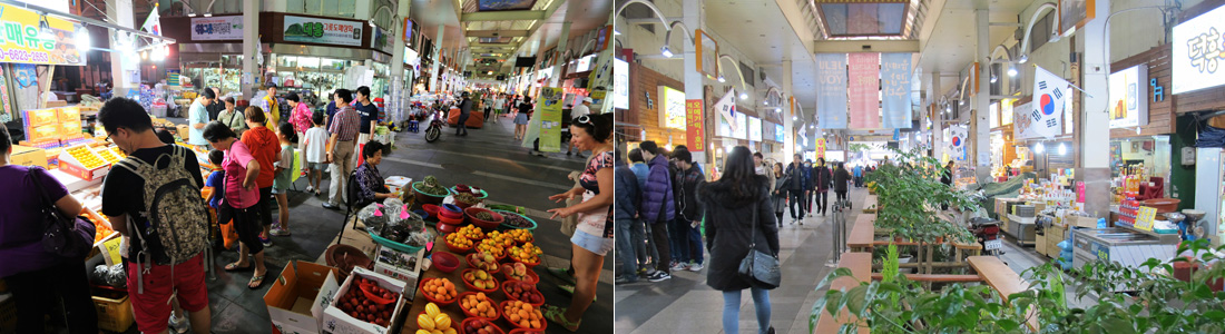 좌)과일을 파는 좌판과 상점 앞에서 물건을 고르는 관광객들, 우)시장 중앙에 놓인 벤치 옆으로 오가는 행인들