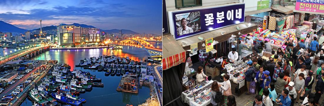 좌)남포동 항구의 야경, 우)영화 국제시장의 배경지로 나왔던 꽃분이네 가게 앞을 지나가는 행인들