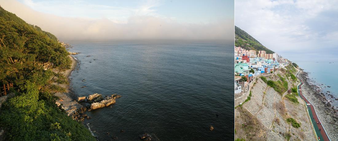 좌)절영해안산책로와 바다 풍경, 우)영도 절벽 좁은 골목을 따라 옹기종기 들어선 집들