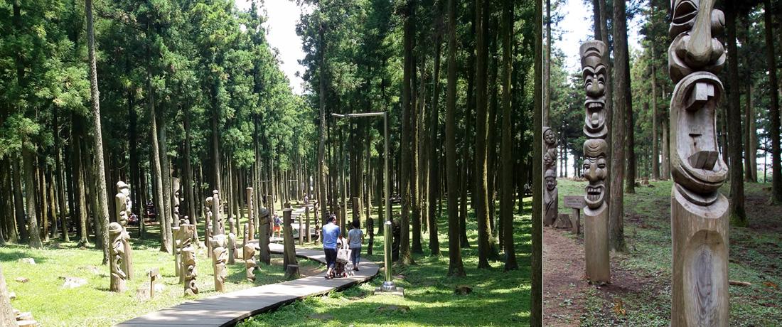 좌)삼나무 숲 나무데크길을 따라 산책하는 가족 우)고사목으로 만든 장승들