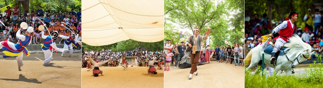 1)야외무대에서 농악놀이를 구경하는 사람들, 2)야외무대에서 국악 비보이 공연을 구경하는 사람들, 3)야외무대에서 공연하는 사람을 구경하는 사람들, 4)마상무예 하는 모습을 구경하는 사람들