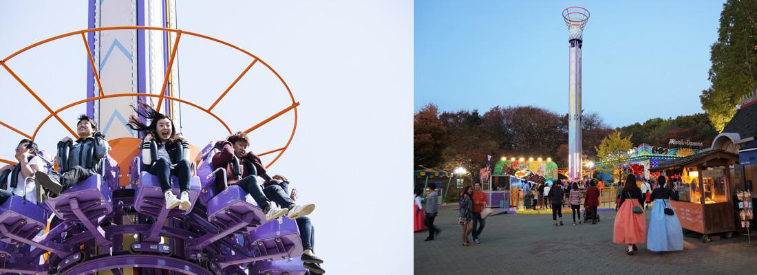 좌)민속촌 내 놀이기구 Drop N Twist를 타는 사람들, 우)민속촌 내 놀이동산을 지나다니는 사람들