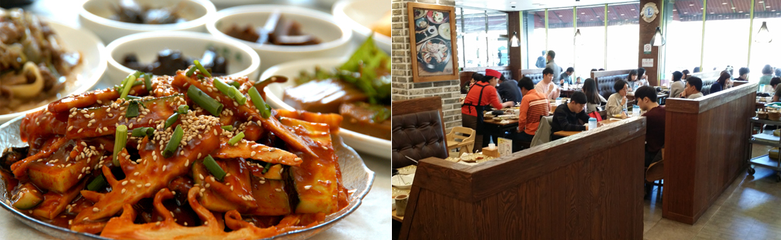 좌)푸짐하게 담긴 죽순 초무침 한접시와 밑반찬, 우)손님들로 가득한 식당 내부