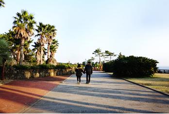 Влюбленные гуляют по пешеходным маршрутам острова (снизу справа)
