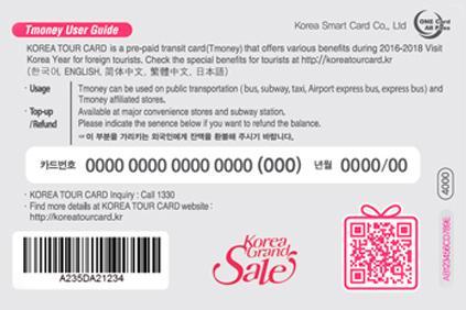 Транспортная карта KOREA TOUR CARD назад