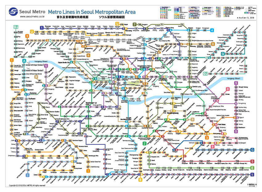 Líneas de metro del área metropolitana de Seúl (cortesía de Seoul Metro).