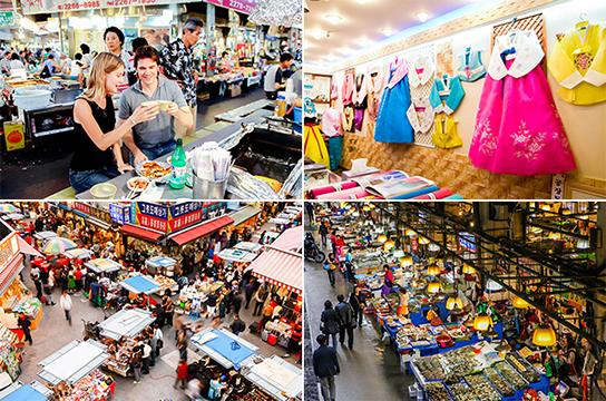 (写真) 左上: 広蔵市場でグルメを楽しむ / 右上: 広蔵市場の韓服専門店 左下: 南大門市場 / 右下: 鷺梁津(ノリャンジン)水産市場