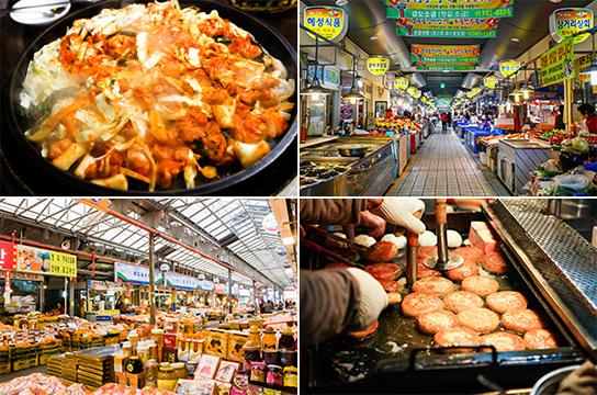 写真) 左上: 春川浪漫市場のタッカルビ / 右上: 慶州中央市場 左下: 済州東門在来市場 / 右下: 釜山国際市場の種ホットク