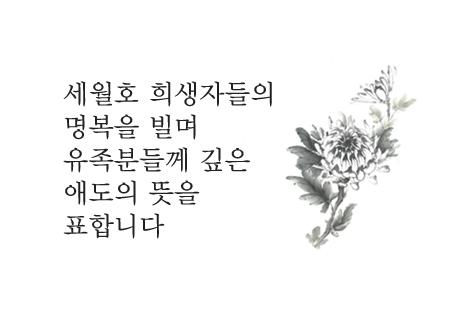 세월호 사고 유가족에게 가슴 깊은 애도를 표하며 실종되신 모든 분들의 무사귀한을 간절히 기원합니다.