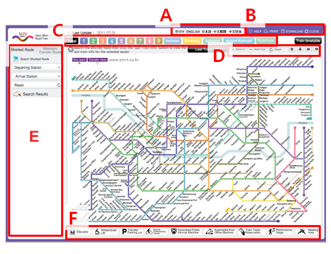 The subway map of Korea