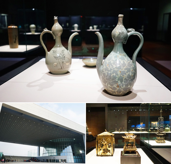 Vista exterior del Museo Nacional de Corea (abajo a la izquierda) / Artefactos en exhibicion en el museo (arriba y abajo a la derecha).