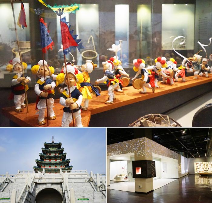 Munecos en miniatura en el Museo Folclorico Nacional, que dan una imagen de la vida en el campo en la antigua Corea (arriba) / Exterior e interior del museo (abajo).