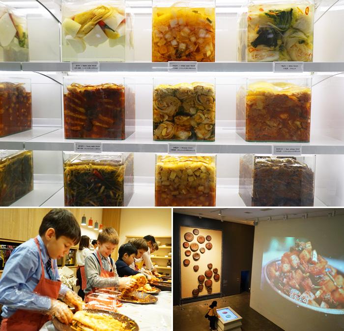 Diferentes tipos de kimchi (arriba) / Programas de elaboracion del kimchi en el museo (abajo).