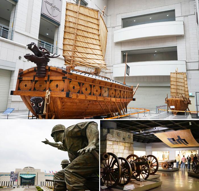Replica de un Barco Turtuga/Geobukseon (arriba) / Vista exterior del museo (abajo a la izquierda) / Pabellon de Historia de la Guerra (abajo a la derecha).