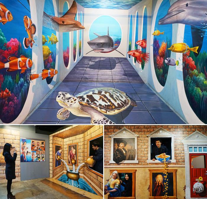 Las exhibiciones son lugares no solo para mirar sino para tomarse tambien fotografias.
