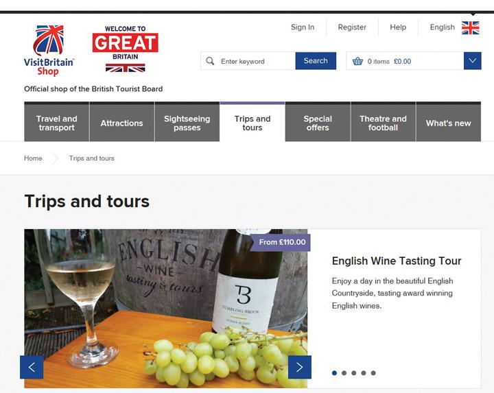 영국관광공사가 운영 중인 '비지트브리튼숍'은 개별여행자들을 위한 다양한 옵션상품을 개발, 판매한다