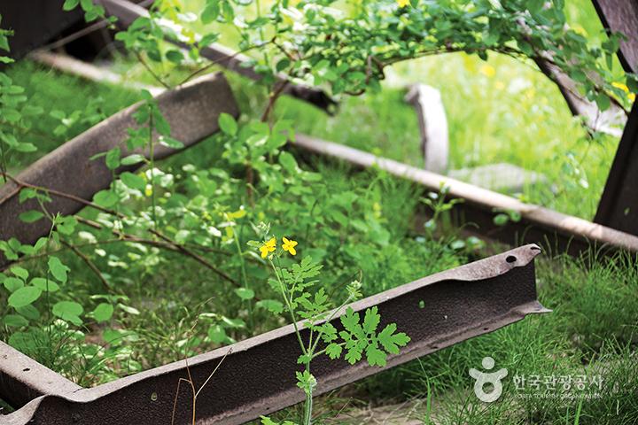 녹슬고 부러진 모습 그대로 전시되어 있는 철길