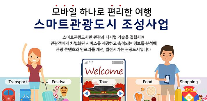 모바일 하나로 편리한 여행 스마트관광도시 조성사업 공모기간:12.22(화) ~ 3.11(목)