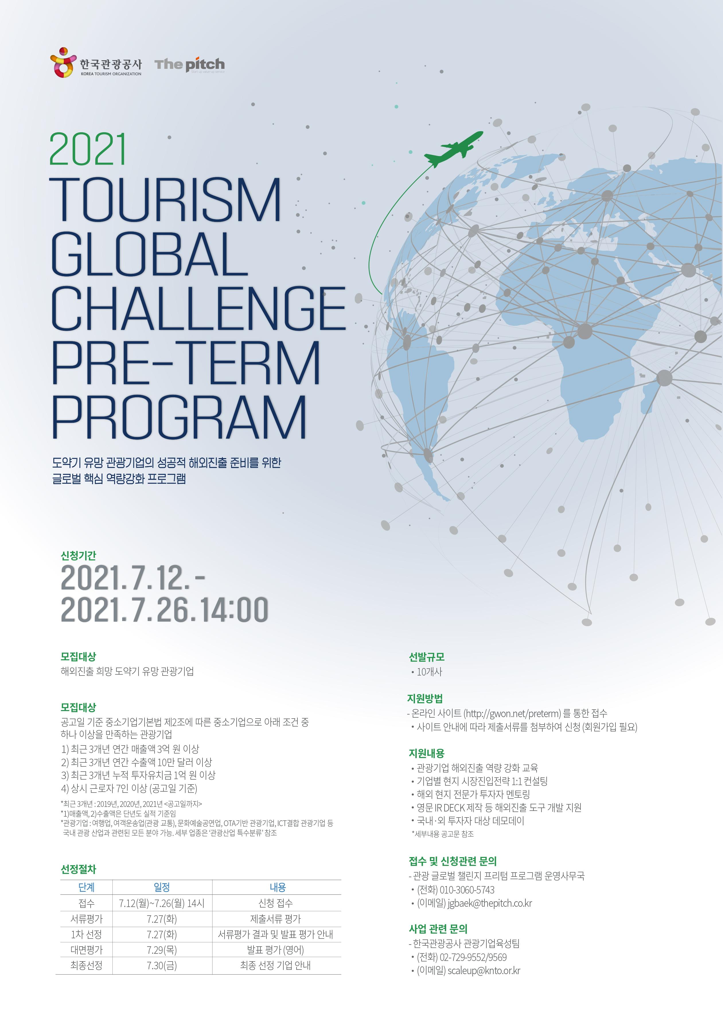 2021 Tourism Global Challenge Pre-Term Program(도약기 유망 관광기업의 성공적 해외진출 준비를 위한 글로벌 핵심 역량강화 프로그램) - 한국관광공사, The pitch