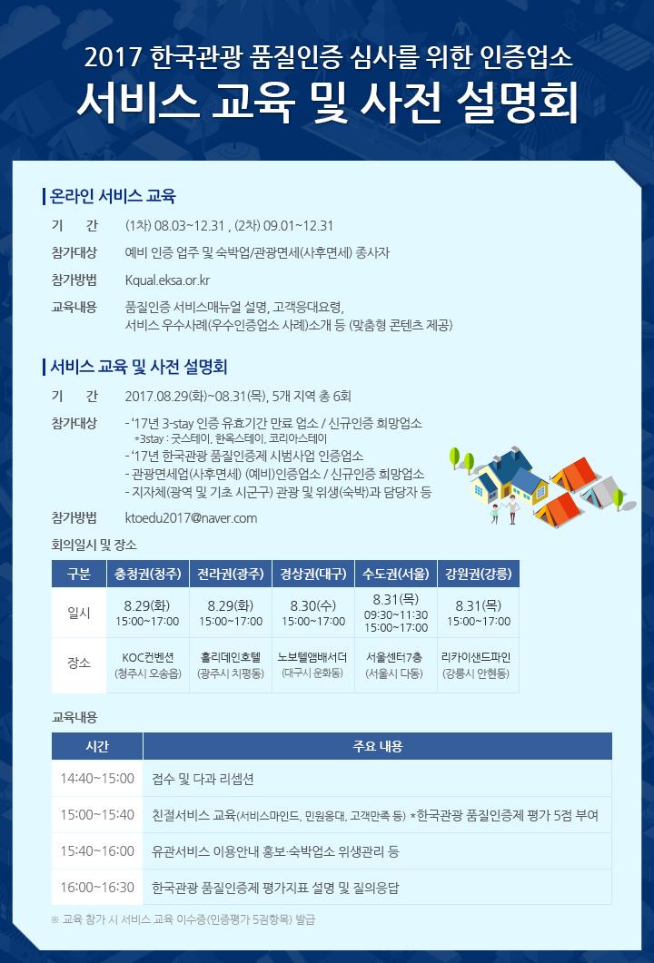 2017 한국관광 품질인증 심사를 위한 서비스교육 및 사전 설명회