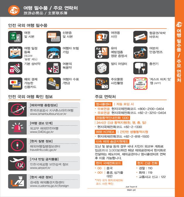 2. 여행 필수품 / 주요 연락처, 자세한 내용은 하단링크의  TOUCH IT PAPER 중국어 PDF 파일을 참조하시기 바랍니다.
