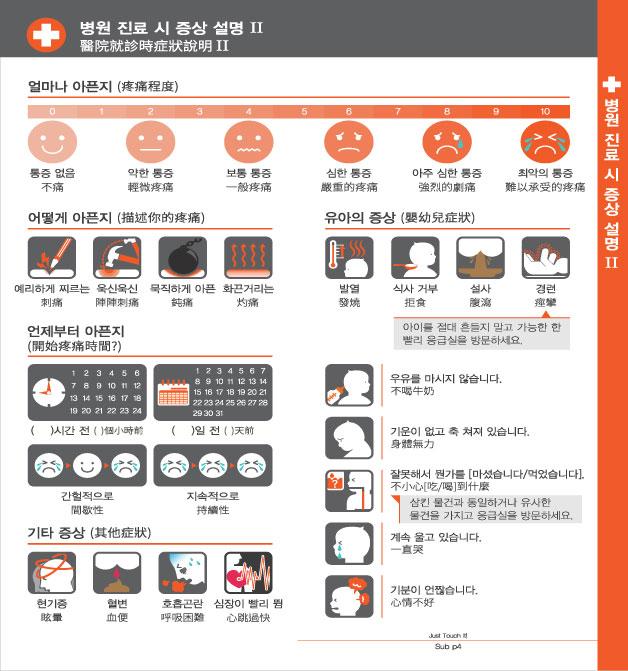 8. 병원 진료 시 증상 설명 Ⅱ, 자세한 내용은 하단링크의  TOUCH IT PAPER 중국어 PDF 파일을 참조하시기 바랍니다.