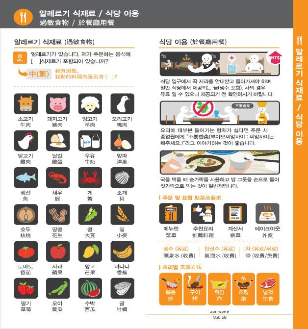 10. 알레르기 식재료 / 식당 이용, 자세한 내용은 하단링크의  TOUCH IT PAPER 중국어 PDF 파일을 참조하시기 바랍니다.