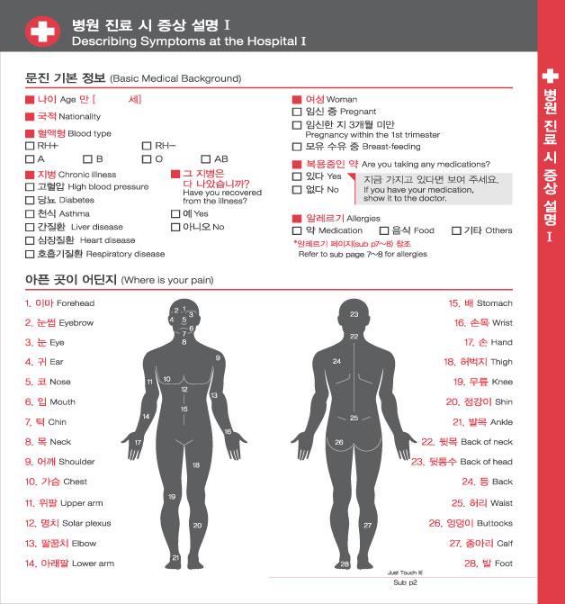 7. 병원 진료 시 증상 설명 Ⅰ, 자세한 내용은 하단링크의  TOUCH IT PAPER 영어 PDF 파일을 참조하시기 바랍니다.