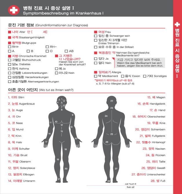 7. 병원 진료 시 증상 설명 Ⅰ, 자세한 내용은 하단링크의  TOUCH IT PAPER 독일 PDF 파일을 참조하시기 바랍니다.