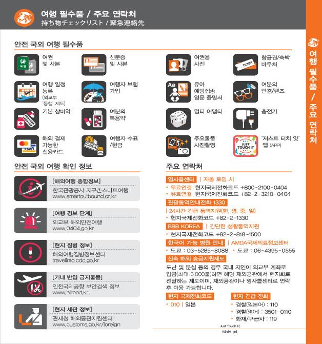2. 여행 필수품 / 주요 연락처, 자세한 내용은 하단링크의  TOUCH IT PAPER 일본어 PDF 파일을 참조하시기 바랍니다.