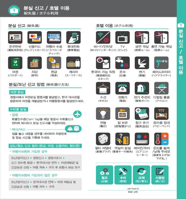 5. 분실 신고 / 호텔 이용, 자세한 내용은 하단링크의  TOUCH IT PAPER 일본어 PDF 파일을 참조하시기 바랍니다.