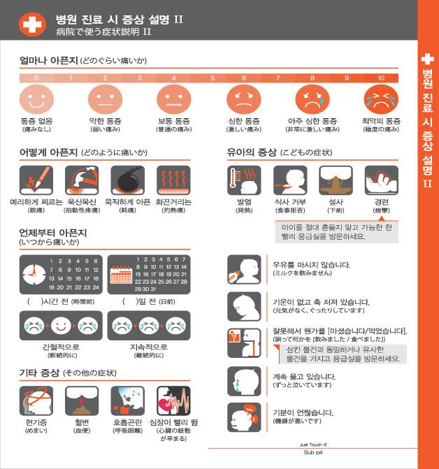 8. 병원 진료 시 증상 설명 Ⅱ, 자세한 내용은 하단링크의  TOUCH IT PAPER 일본어 PDF 파일을 참조하시기 바랍니다.