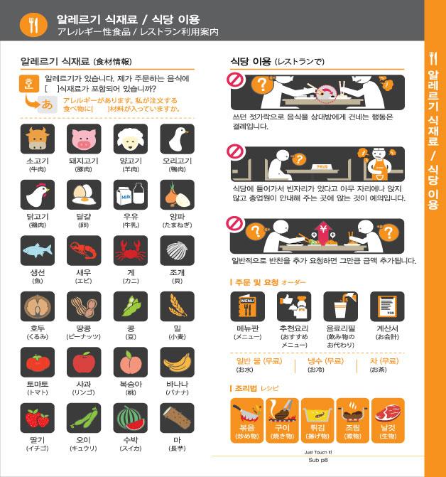 10. 알레르기 식재료 / 식당 이용, 자세한 내용은 하단링크의  TOUCH IT PAPER 일본어 PDF 파일을 참조하시기 바랍니다.